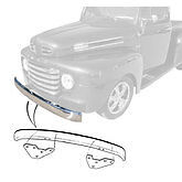 1948 1949 1950 1951 1952 Ford Pickup Front Bumper With Brackets Plain Steel
