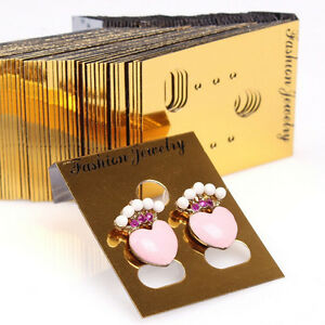100x Gold Professional Type Plastic Earring Studs Holder display Hang Cards _sc