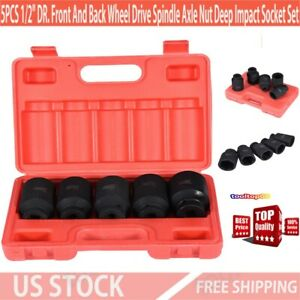 5pcs 1 2 Dr Front And Back Wheel Drive Spindle Axle Nut Deep Impact Socket Set