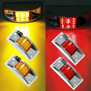 4x Amber Red 12 Led Sealed Chrome Side Marker Truck Trailer Clearance Light