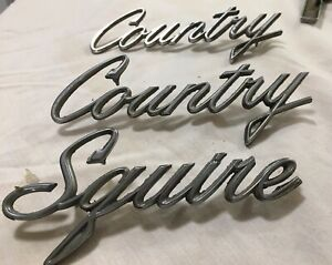 1962 Ford Falcon Country Squire Fender Script Emblems 2 Country 1 Squire