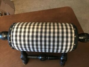 Antique Vintage Wood Gout Foot Stool Round Design With Handles