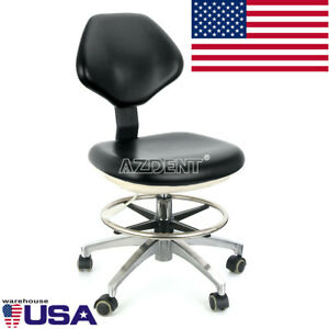 Dental Lab Doctor Pu Leather Assistant Stool Adjustable Height Mobile Chair Usa