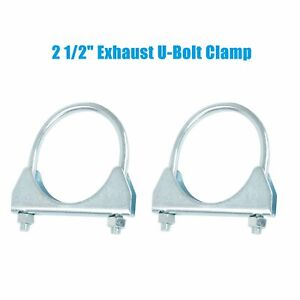 Pair Of 2 5 Exhaust U bolt Clamp Muffler Clamp 5 16 Rod Saddle Style 2 1 2
