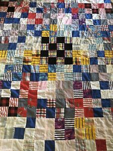 Vintage Multi Color Patchwork Quilt Top 87 X 64 Cotton