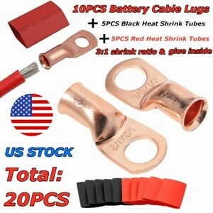 Battery Cable Ends Lugs Ring Terminals Pure Copper With Heat Shrink Tubings