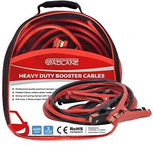 Gadlane 3m Heavy Duty Jump Leads 400amp Battery Booster Cables Clamps Car Van