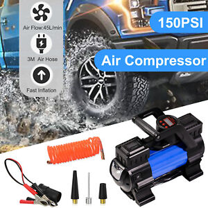 12v Car Tire Pump Heavy Duty Portable Air Compressor Inflator Auto 150 Psi