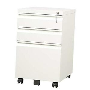 3 Drawer Mobile File Cabinet With Lock Fully Assembled Except Casters Letter