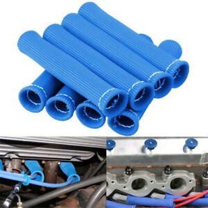Blue 8pcs 2500 Spark Plug Wire Boots Heat Shield Protector Sleeve Sbc Bbc