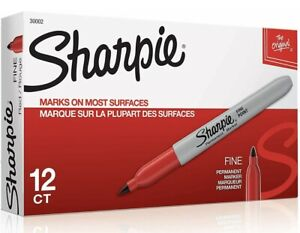 Sharpie Permanent Marker Fine Point Red 12 Ct