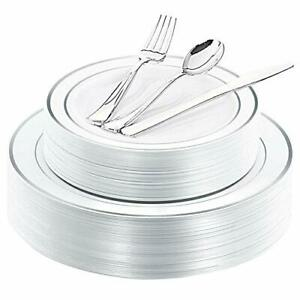 40guest Silver Plastic Plates With Disposable Plastic Silverware Plastic Table