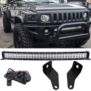 For 06 10 Hummer H3 Bumper 30 Curved Led Light Bar Switch Wire Mounts Brackets