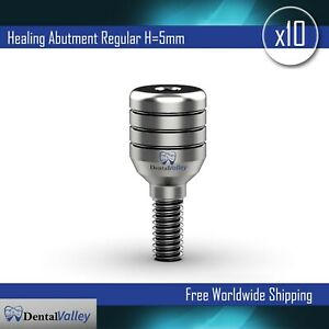 10 Units Of Dental Implants Ti Standard Healing Abutment H 5mm Zimmer Compatible