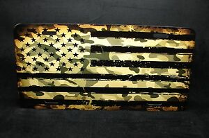 Camo American Flag Metal License Plate Tag For Cars Usa Flag Camoflage Colors