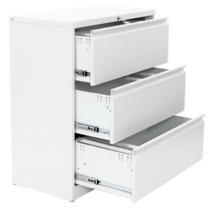 3 Drawer Lateral File Cabinet With Lock Metal Lateral Storage Cabinet White