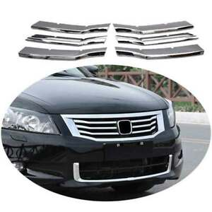 Fit For Honda Accord 2008 2010 Front Grille Grill Strips Cover Trim Abs Chrome