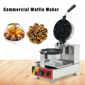 Nonstick Electric Waffle Cake Machine Stainless Steel Commercial Snack Maker Usa