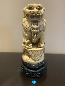 3 Vintage Antique Asian Resin Figurines With Wood Base Free Shipping