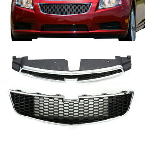 Front Bumper Upper Lower Grille Set Black Chrome Fit For Chevy Cruze 2011 2014