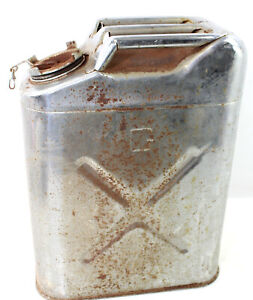 Vintage Usmc 5 Gallon Metal Gas Can Dot5l 20 5 80 Chrome Jerry Military Fuel