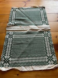 Antique Hand Woven Coverlet Table Runner Pillows Green White Finely Woven