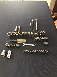 48 Piece Craftsman Tools Socket And Extention Lot 1 4 3 8 1 2 Drive