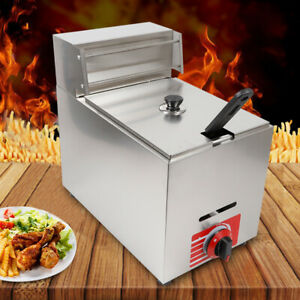 Commercial Countertop Gas Deep Fryer Propane 1 Basket Cover Stainless Steel 10l