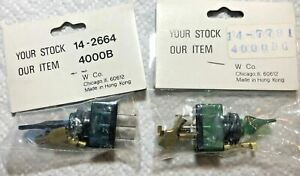 Vintage Pair Blur Green W Co Toggle Switch Switches 12v Hot Rod Rat Dashboard