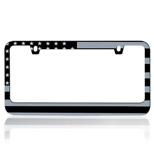 Heavy Duty Stainless Steel Metal Matte American Usa Flag License Plate Frame