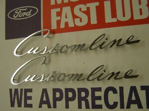 Oem Ford 1952 Customline Fender Script Emblems Ornaments Trim Pair Nos
