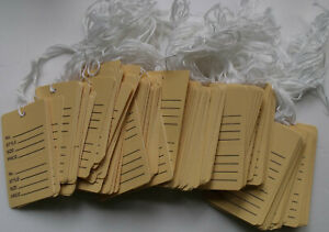 184 Large Buff Colored Perforated Prestrung 1 3 4 X 2 7 8 Price Tags