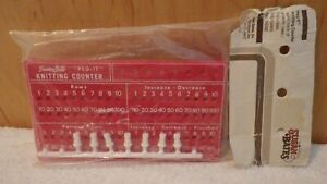 Vintage Susan Bates peg it Red Knitting Counter 14048 sealed In Package