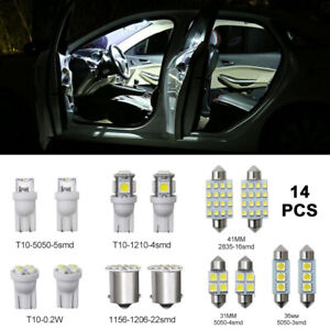 14pcs Led Light Car Bulbs Auto Lamp For Interior Dome Map Set Inside 6000k White