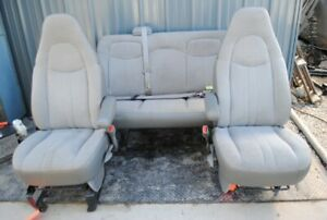 97 09 Chevy Express 3500 Front Bucket Rear Bench Seats Set Gray Cloth Nice