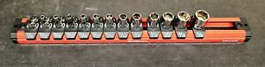 New Snap on 13 Pc 1 4 Dr 6 pt Sae Flank Shallow Socket Set With Locking Holder