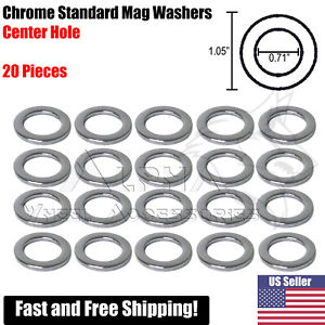 20pc Chrome Standard Wheel Washers Center Hole For Mag Seat Lug Nuts