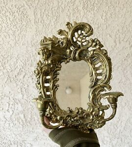 Antique Small Solid Brass Mirror Candle Sconce