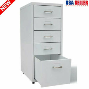 Vidaxl Filing Pedestal Cabinet File Office With 5 Drawers Chest Storage Cabinet