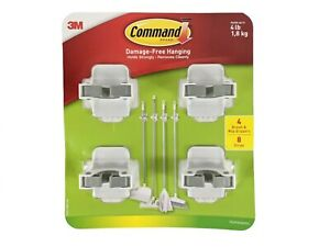 3m Command Holder Broom Mop Gripper Set 4 White Grippers 8 Strips New