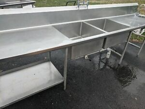 Two 2 Compartment Restaurant Stainless Steel Sink
