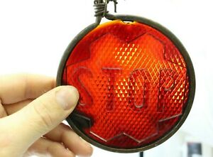 Antique Red Beehive Looking Stop Glass Lens Rat Rod Car Truck Bus Brass Part