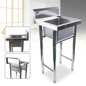 Commercial Stainless Steel Hand Wash Washing Sink Kitchen 1 Compartment