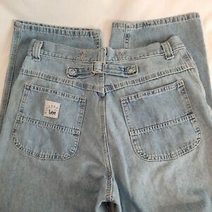 Vintage Riveted By Lee 30x31 HIGH Waist Jeans Back Buckle Sexy Curvy Flattering $32.35