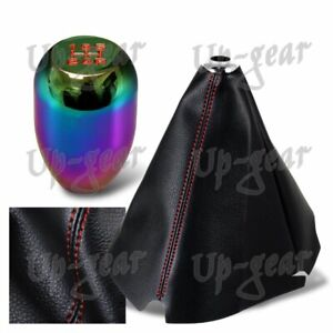 Universal Red Stitch Leather Manual Shift Boot r Neo Chrome 5 speed Shifter Knob