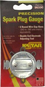 Spark Plug Gage 6 Round Wire Gap Sizes W Double End Electrode Adjusting Tool