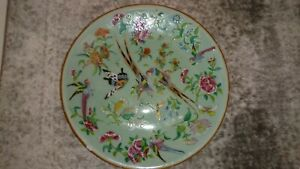 Chinese Canton Celadon Ground Famille Rose Painted With Birds Butterflies