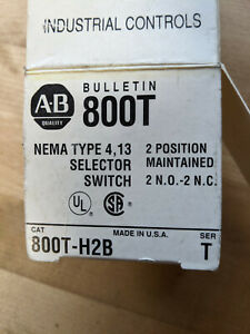 Allen Bradley 800t h2b 2 Position Maintained Selector Switch