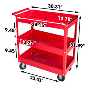 Steel Tool Service Push Cart With 3 Shelves And 200 Lb Capacity Red