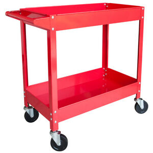 Steel Tool Service Push Cart With 2 Shelves And 150 Lb Capacity Red